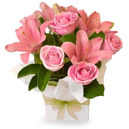 Pink Coloured Flowers Box Arrangement: Send Gifts to Australia
