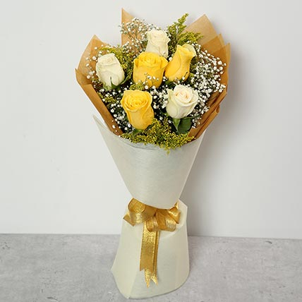 White and Yellow Roses Bouquet BH: Send Gifts to Bahrain