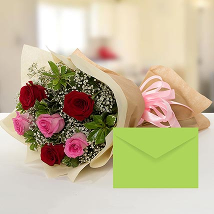 Attractive Roses Bouquet With Greeting Card: