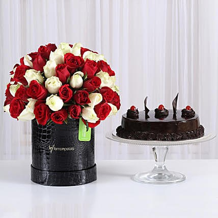 80 Red and White Roses Box with Truffle Cake:  Cake Delivery In India