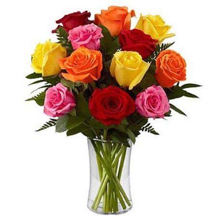 Dozen Mix Roses in a Glass JD: Send Gifts to Jordan