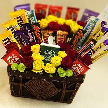 Exotic Flowers and Chocolates Basket: Valentines Day Gifts to Jordan