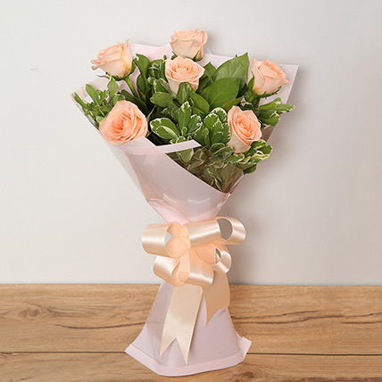 Bouquet Of Peach Roses KT: Gifts in Kuwait