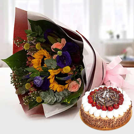Alluring Flower Bouquet With Blackforest Cake: New Year Flowers & Cakes