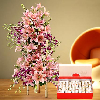 Appealing Flowers Arrangement and Kaju Roll Combo: Flowers & Sweets