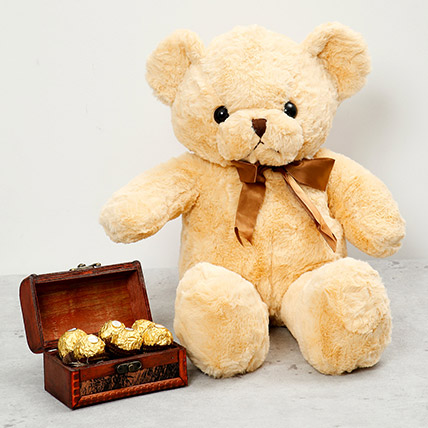 Brown Teddy Bear and Wooden Chocolate Box: Send Chocolates in Ras Al Khaimah
