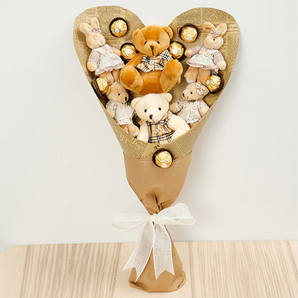 Chocolates and Teddy Bear Bouquet: Soft Toys