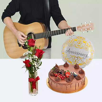 Delightful Anniversary Surprise: Flowers & Guitarist Service