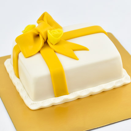 Designer Gift Wrapped Mono Cake: One Hour Delivery Gifts