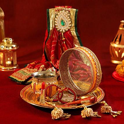 Designer Mustard Thali Set Shringar: Karwa Chauth Gifts