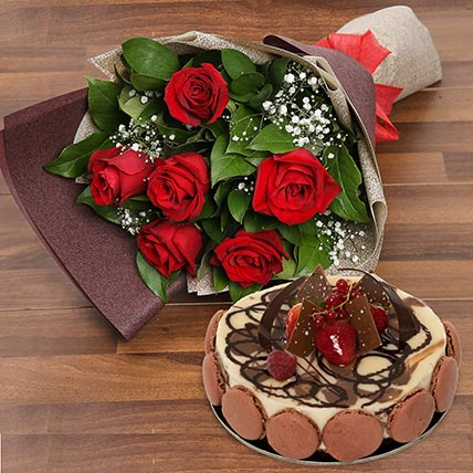 Enchanting Rose Bouquet With Marble Cake: Flowers with Cakes in Sharjah