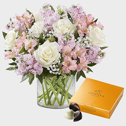 Exotic Blossoms and Godiva Gold Chocolate Box: Flowers with Chocolates