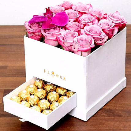 Hues Of Purple and Chocolates: Flowers with Chocolates