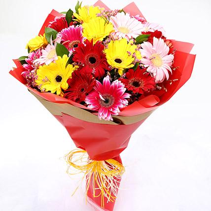 Joyful Mixed Gerbera Bouquet: Gerberas Flowers