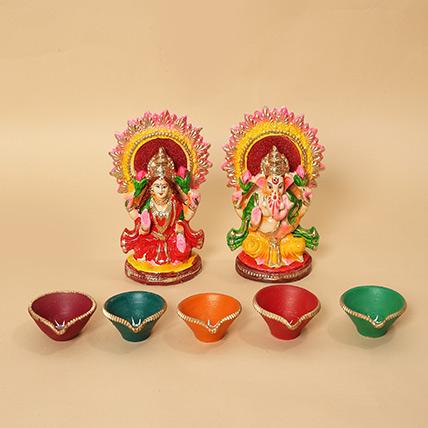 Lakshmi Ganesha Idols and Diyas Combo: Diwali Diyas