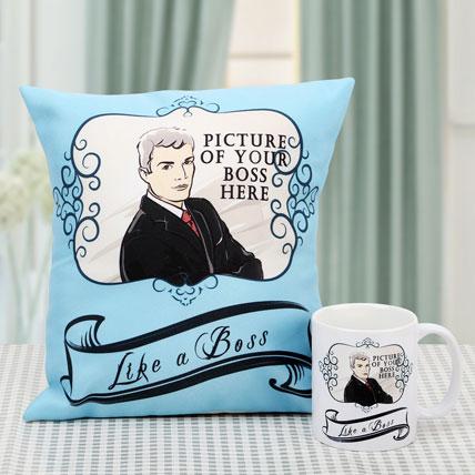 Like A Boss Personalised Cushion and Mug Combo: Gifts for Boss