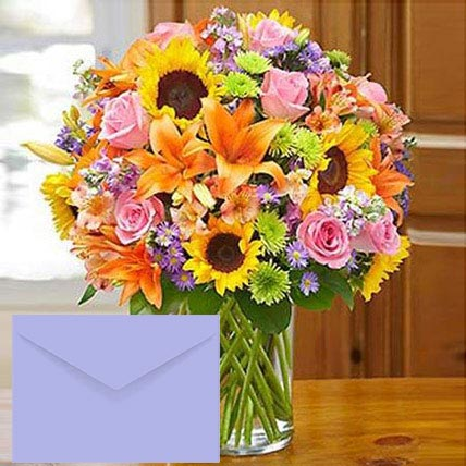 Mixed Flowers Vase Arrangement With Greeting Card: Karwa Chauth Flowers & Greeting Cards
