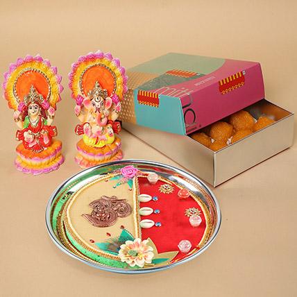 Motichoor Laddoo & Pooja Thali Combo: Diwali Sweets
