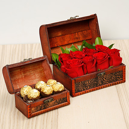Passionate Red Roses and Chocolates Box: Flowers with Chocolates