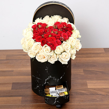 Peach and Red Rose Box With Patchi Chocolates: Valentines Day Flower Arrangements