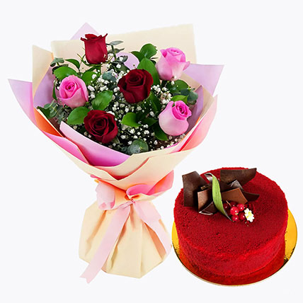 Pink and Red Roses with Red Velvet Cake: Birthday Flowers & Cakes