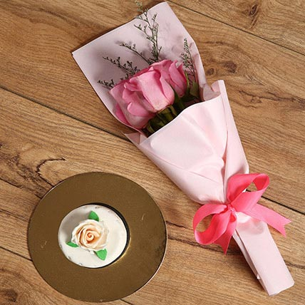 Pink Roses Bouquet and Mono Cake Combo: Anniversary Flower Bouquets