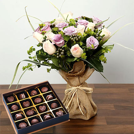 Purple and Peach Rose Bouquet With Chocolates: Mothers Day Flowers & Chocolates