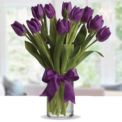 Purple Tulip Arrangement: Daughters Day Gifts