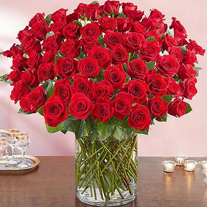 Ravishing 100 Red Roses In Glass Vase: I Am Sorry Flowers