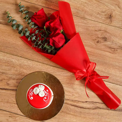 Red Roses Bouquet and Mono Cake Combo: One Hour Delivery Gifts