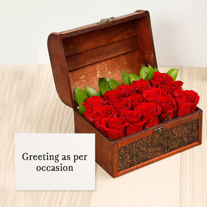 Red Roses Treasured Box With Greeting Card: Karwa Chauth Flowers & Greeting Cards