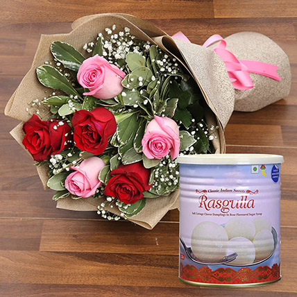 Splendid Roses Bouquet and Rasgulla Combo: Flowers & Sweets