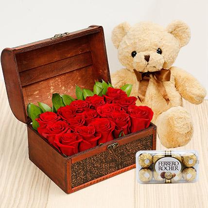 Treasure Hunt Combo: Flowers & Teddy Bears
