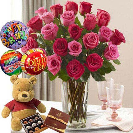 Birthday Bash Combo: Roses And Teddies