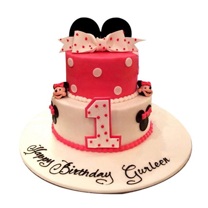Minnie the cutie Cake: 1 year birthday cake