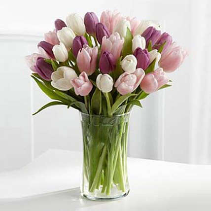 Painted Skies Tulip Bouquet: Women's Day Gifts