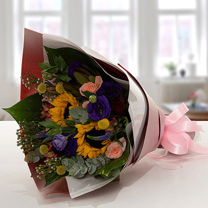 Gracious Flower Bouquet In Paper Packing: Exotic Flowers