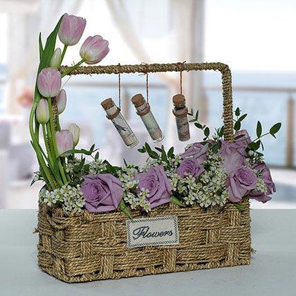 Lovely Rose N Tulip Flower Basket: Ramadan Flowers