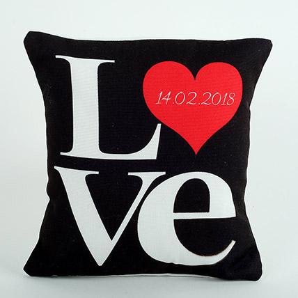 Black Love Cushion: Valentine's Day Cushions