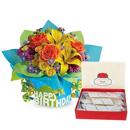 Mixed Flowers Arrangement and Kaju Katli Combo: Anniversary Flowers and  Sweets