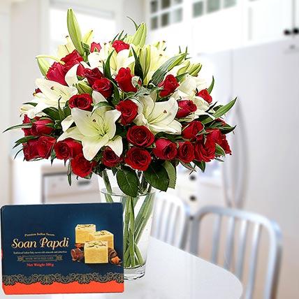 Floral Vase Arrangement and Soan Papdi Combo: Diwali Flowers & Sweets