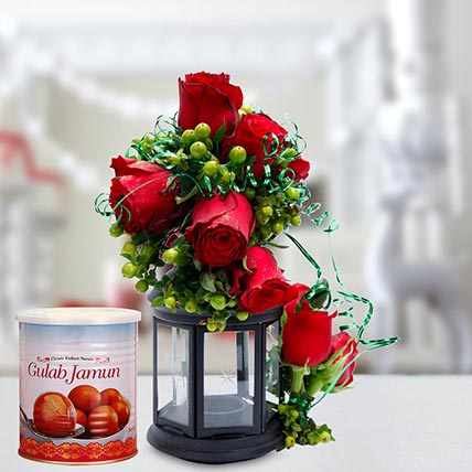 Alluring Roses Arrangement and Gulab Jamun Combo: Eid Flowers & Sweets