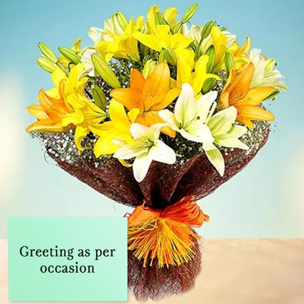 Mixed Lilies Bouquet With Greeting Card: Fathers Day Flowers & Greeting Cards