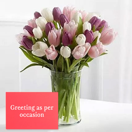 Tulips Vase Arrangement With Greeting Card: Anniversary Flowers and Greeting Cards