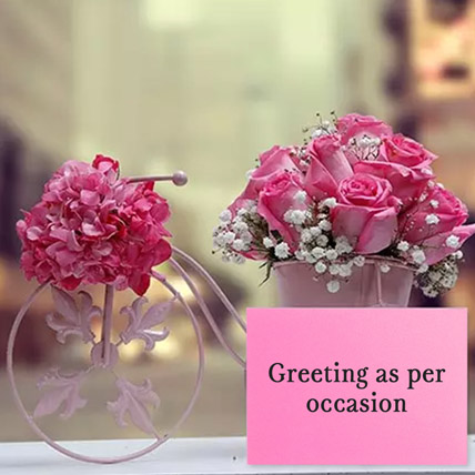 Floral Cycle Arrangement With Greeting Card: Flowers & Greeting Cards