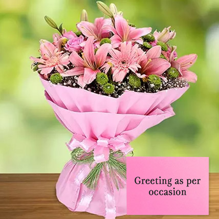 Pink Flowers Bouquet With Greeting Card: Anniversary Flowers and Greeting Cards