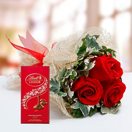 Red Roses Bouquet and Lindt Chocolate Combo: Anniversary Flowers and Chocolates