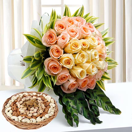 Bunch Of Roses and Dry Fruits Combo: Karwa Chauth Flowers & Dry Fruits