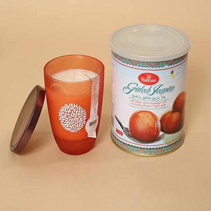 Gulab Jamun and Decorative Candle Combo: Diwali Diyas