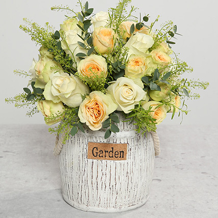 Roses In Designer Ceramic Vase: Flower Box Dubai